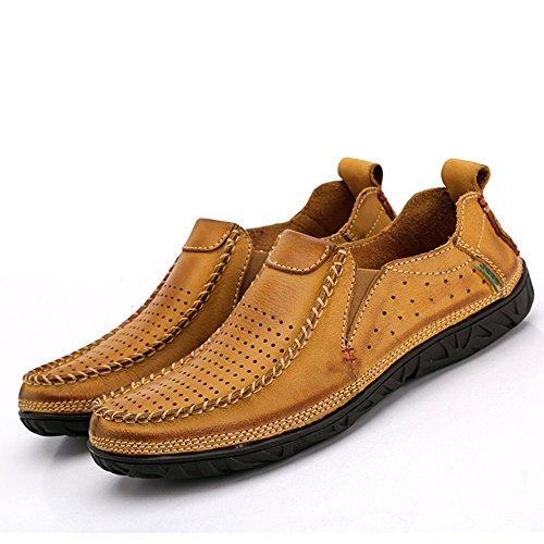 los Hechos a Zapatos de Mano Casuales Hombres Verano Amarillo Cuero de de F0nUOwqg