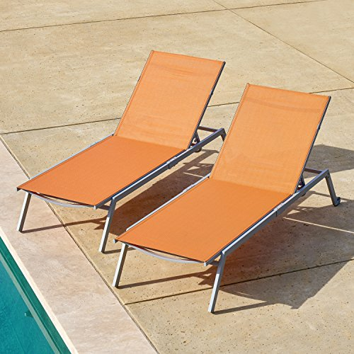 (Corvus Torino Adjustable Sling Fabric Patio Chaise Lounge Orange - 2 lounges)