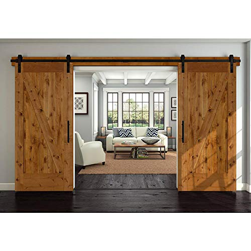 Natural Wood Dual Track - Winsoon 5-18FT Sliding Barn Wood Door Hardware Cabinet Closet Kit Antique Style for Double Doors Black Surface (11FT /132