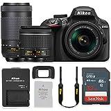 Nikon D3400 24.2MP DSLR Camera with AF-P 18-55mm VR Lens & 70-300mm ED Lens Kit + 32 GB Sandisk Memory Card (Certified Refurbished)