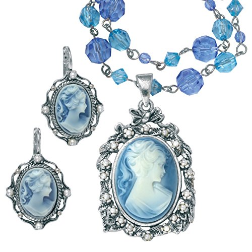 Palm Beach Jewelry Simulated Pearl and Blue Lucite Cameo Silvertone 2-Piece Necklace and Earrings Set 16