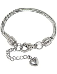Stainless Steel Starter Charm Bracelet for Women & Kids European Style Clasp Come with 2 Beads
