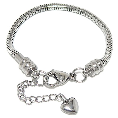 Stainless Steel Starter Charm Bracelet for Women & Kids Fits Pandora Jewelry European Style Clasp Come with 2 Beads