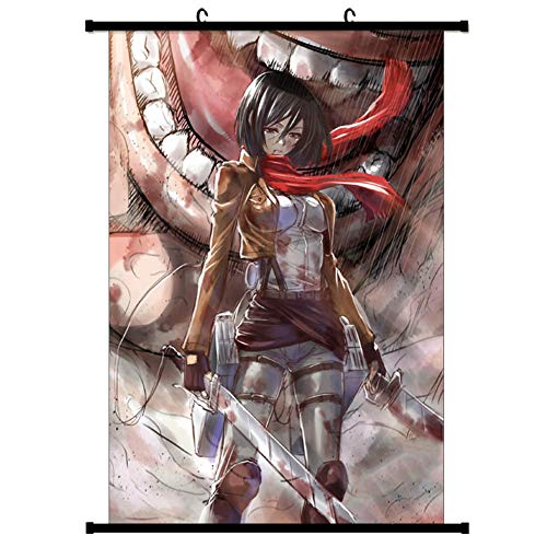 HomMall Japanese Anime Poster Wall Scroll Hanging Paintings Art Painting Wall Scroll Poster(Attack on Titan)