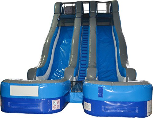 Great White Wild Slide - TentandTable Complete 24' Double Lane Water Slide - Wet or Dry Commercial Inflatable Slide - Blue, Includes (2) 1.5 HP Zoom Blowers and Stakes