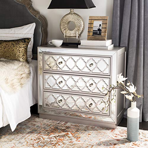 Safavieh CHS6402A Home Collection Amelia Champagne and Nickel 3 Chest of Drawers, Mirror
