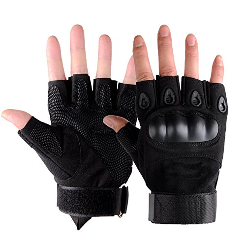 HaloVa Tactical Gloves, Half Finger Hard Knuckle Military Gloves for Army Gear Sports, Motor Driving, Outdoor, Camping, Hunting, Shooting