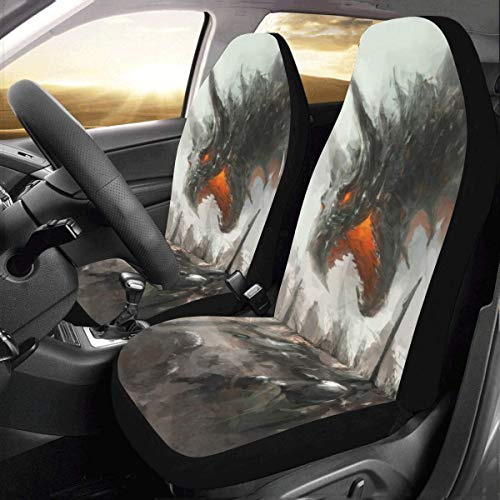 - INTERESTPRINT Car Seat Cover Protector Cushion Knights Hunting Dragon Comfortable Wear Resistant Universal Automobile Seat Covers