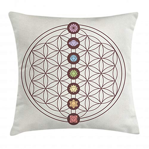 Lunarable Flower of Life Throw Pillow Cushion Cover, Sacred Geometry Themed Various Shapes Triangles Circles Squares Chakra Zen, Decorative Square Accent Pillow Case, 16 X 16 Inches, Multicolor