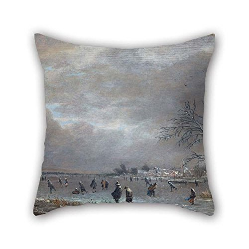 18 X 18 Inches / 45 by 45 cm Oil Painting Aert Van Der Neer - Winter Landscape with Skaters On A Frozen River Pillow Covers Double Sides is Fit for Dance Room Girls Home Theater Lover Deck Chair -
