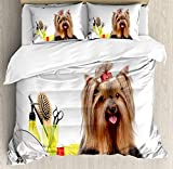 Anzona Yorkie Bedding Duvet Cover Sets for Bedroom Hotel Twin Size, Yorkshire Terrier with Stylish Hairdressing Equipment Mirror Scissors, Decorative 4pcs Bedding Set, Dark Brown Multicolor