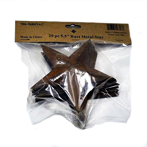 Package of 20 Rusted Tin Dimensional Miniature Barn Stars with Hole and Hollow Backs