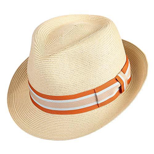 Janetshats Straw Fedora Unisex Summer Sun Hats Panama Short Brim Hat Men -
