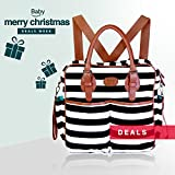 Chic Mommy Baby Diaper Bag & backpack- Cotton Messenger & tote Organizer w/ stroller straps