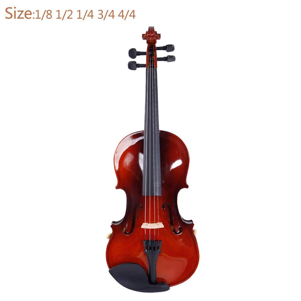 4/4 Acoustic Violin Case Bow Rosin Strings Tuner Shoulder Rest Natural(Natural-3)