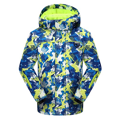 PHIBEE Big Boy's Waterproof Breathable Snowboard Ski Jacket Print1 ()