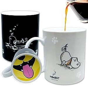 InGwest. Funny Coffee Mug with Friendly Dog and Tongue on bottom. Heat Sensitive Mug, Color Changing Mug.