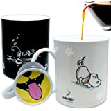 InGwest. Funny Coffee Mug with Friendly Dog and Tongue on bottom. Heat Sensitive Mug, Color Changing Mug.