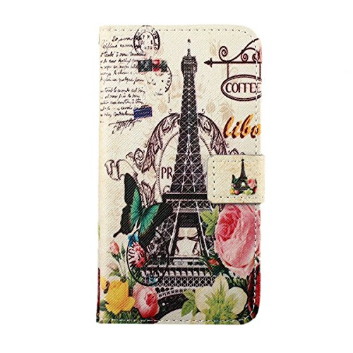 Galaxy E5 Case,E5 Case,Gift_Source [Stand Feature] Galaxy E5 Wallet Case [Wallet S] Premium Magnetic Wallet Case With TPU Flip Case Cover for Samsung Galaxy E5 / E500 Case - Eiffel Tower Red Flowers Building, Sent Stylus Pen