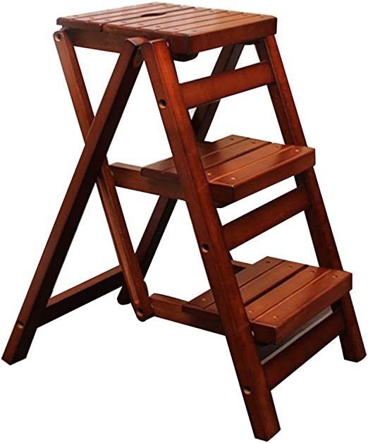 Escaleras plegables Escalera de la escalera del taburete escalera de madera maciza escalera plegable taburete multifunción taburete de la escalera de la cocina en casa escalera creativa escalera Silla: Amazon.es: Hogar