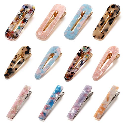 12 Pcs Hair Clips Acrylic Resin Alligator Hair Clips Hair Barrettes Pins, 3 Different Designs Hair Accessories Set