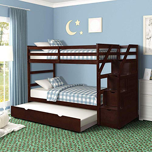 Bunk Bed Twin-Over-Twin, Wood Twin Bunk Bed for Kids with Trundle with Storage Drawers (Espresso)