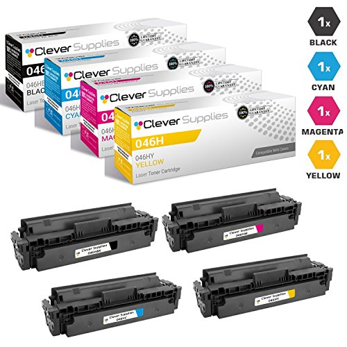 CS Compatible Replacement for Canon 046H 1254C001 1251C001 1252C001 1253C001 (Black, Cyan, Magenta, Yellow, 4 Pack)