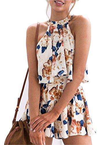 PiePieBuy Women Fashion Floral Print Halter Sleeveless Strapless Overlay Romper Jumpsuit Short Pants Summer