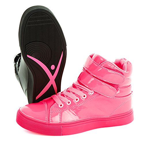 Collezione Alexandra Womens Liquid Shiny High Top Sneak Dance Sneakers Nere