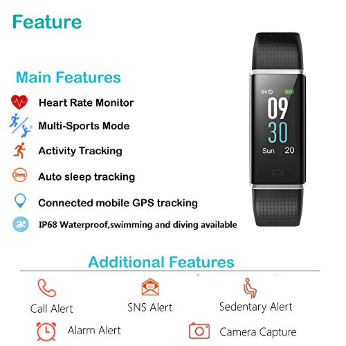 Willful Fitness Tracker, Heart Rate Monitor Fitness Watch Activity Tracker(14 Modes) Pedometer with Step Counter Sleep Monitor Call SMS SNS Notice for Women Men Kids (Black+Black) by Willful (Image #1)