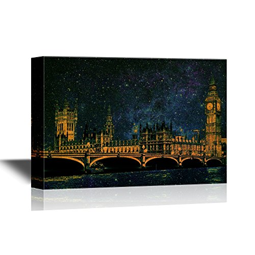 wall26 - Canvas Wall Art - Westminster Bridge with Big Ben in London, Black and White Version. - Gallery Wrap Modern Home Decor | Ready to Hang - 24x36 inches -