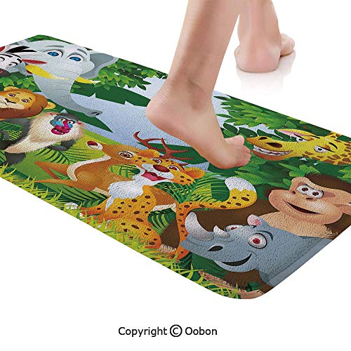 (Nursery Rug Runner,Group of Safari Jungle Animals with Funny Expressions Cute African Savannah Mascots,Plush Door Carpet Floor Kitchen Decor Mat with Non Slip Backing,48 X 17.7 Inches,Multicolor )