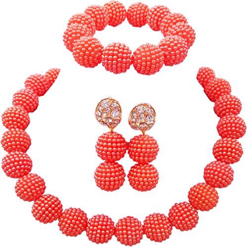(laanc Fashion Women 1 Rows Multicolor Plastic Imitation Pearl Nigerian Wedding Beads African Jewelry Sets (Orange) )