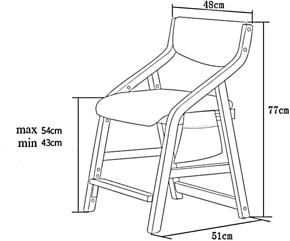 Chair Sillón Silla de Estudio para niños Silla de Comedor Silla Principal Silla de Madera Maciza Elevador Sillón Silla de Escritorio Hogar 16 Colores (Color : 10) 1