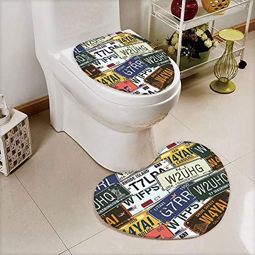 iPrint 2 pcs Toilet Cover Set Non-Slip mat Bathroom Non-Slip mat,License Plates Creative Travel Collections Art,3D Print Heart Shape Toilet seat Cushion Customized Fashion