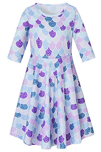 7 Plum - 7 Elegant Vintage Light Mauve Plum Lilac Blue Green Dot Mermaid Frocks for Girls Casual Tank Easter Dress Summer Fall Simple Daily Clothes, xs