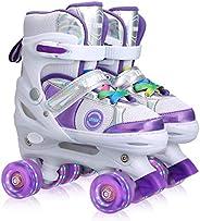 Kids Adjustable Roller Skates for Girls Boys Beginners, All 8 Wheels Illuminating.