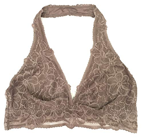 Victoria's Secret Pink Unlined Wireless Halter Lace Bralette Bra Large (A-C) Brown