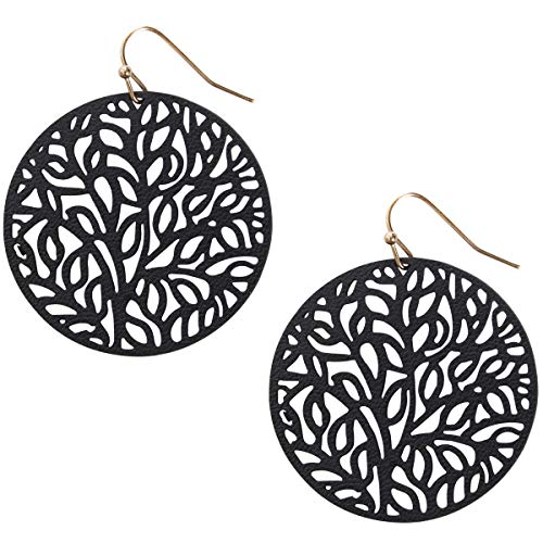 Humble Chic Vegan Leather Earrings for Women - Round Circle Dangle Statement Filigree Dangling Lightweight Boho Vintage-Style Drops, Black Circle, Gold-Tone, Tree Of Life ()