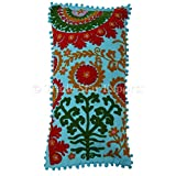 Suzani Pillows 12x24, Pom Pom Pillow Cover Decorative, Bohemian Outdoor Cushion Cover, Indian Cushion Pillow Shams