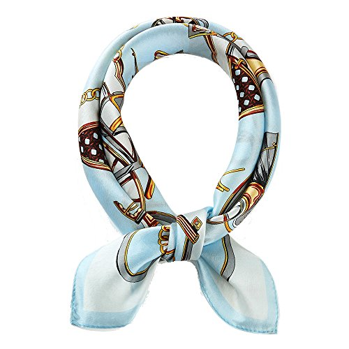 - Jeelow 100% Silk Scarfs Petite Square For Women Silk Scarves For Hair Wrapping Neckerchief (belt blue)