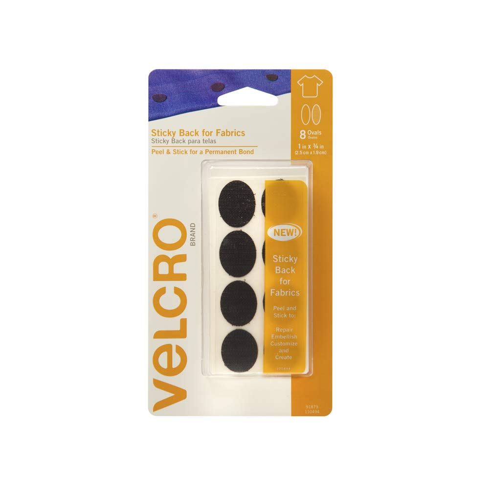 VELCRO Brand for Fabrics | Permanent Sticky Back Fabric Tape for Alterations and Hemming | Peel and Stick - No Sewing, Gluing, or Ironing | Pre-Cut Ovals, 1 x 3/4 inch, Beige - 8 Sets