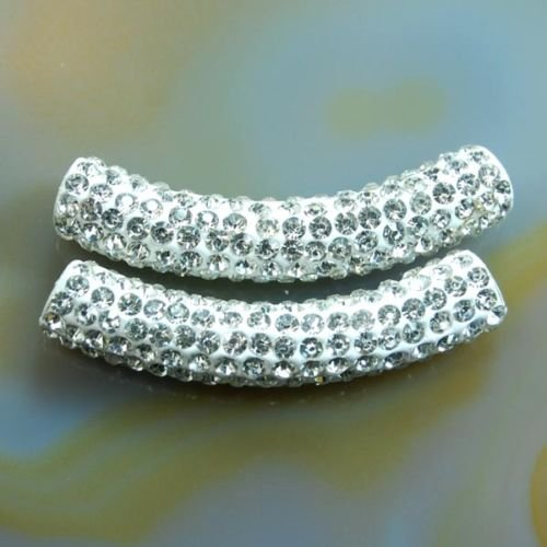 AD Beads Curved Tube 2 Pcs Czech Crystal Rhinestones Pave Bracelet Connector Charm Beads (Curved Rhinestone)