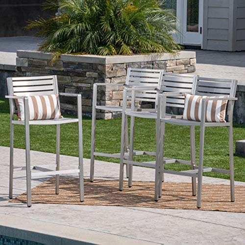 Great Deal Furniture 304262 Tammy Coral Outdoor Silver Rust-Proof Aluminum 29.50 Inch Barstools (Set of 4), ()