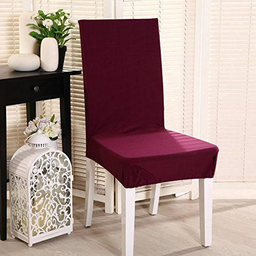 Dining Room Furniture Cover - Set of 4 Stretch Chair Slipcovers Polyester Spandex Washable Dining Chair Covers Removable Furniture Chair Protector Cover For Dining Room Hotel Banquet Wedding Party