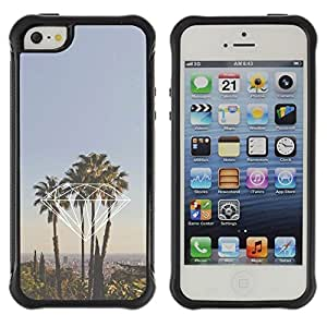 Suave TPU GEL Carcasa Funda Silicona Blando Estuche Caso de protección (para) Apple Iphone 5 / 5S / CECELL Phone case / / diamond Miami California la palm trees /