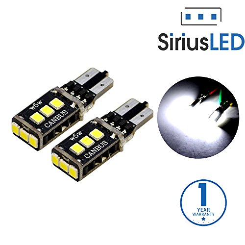 SiriusLED 2835 PX Chipset Super Bright 400 Lumens Canbus Error Free SMD LED Bulbs for Interior Car Lights License Plate Dome Map Courtesy Side Marker T10 168 194 2825 W5W 6000K Xenon White (Chevy Cruze Light Tint compare prices)