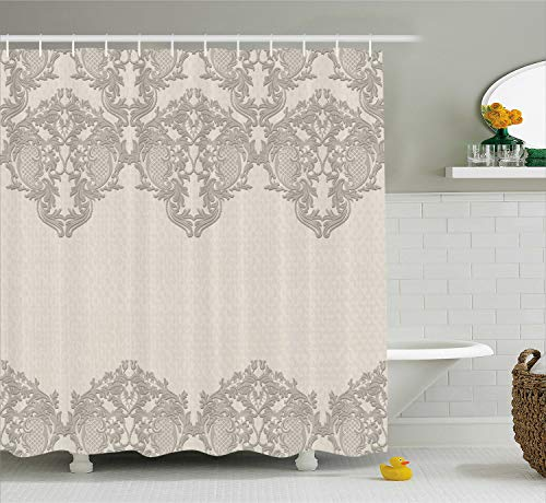 Ambesonne Taupe Shower Curtain, Lace Like Framework Borders with Arabesque Details Delicate Intricate Retro Dated Print, Fabric Bathroom Decor Set with Hooks, 70 Inches, Taupe
