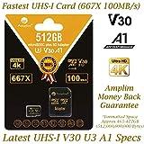 Amplim 512GB V30 A1 Micro SD Card. MicroSD SDXC Memory Card Plus Adapter Pack (Class 10 U3 UHS-I XC) 512 GB Ultra High Speed 667X 100MB/s MicroSDXC TF Flash - Cell Phone, Drone, Camera, GoPro Hero 7