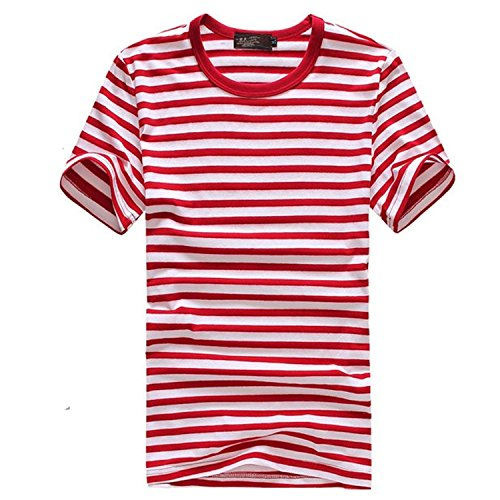 [Krralinlin Striped Sleeve Short T Men's Style Navy Shirt] (Pugsley Addams Costume)